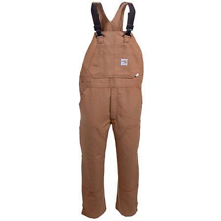 Carhartt Overalls: Cotton Duck FR Unlined Brown Bib Overalls FRR45 BRN Sale $125.00 Item#FRR45BRN :