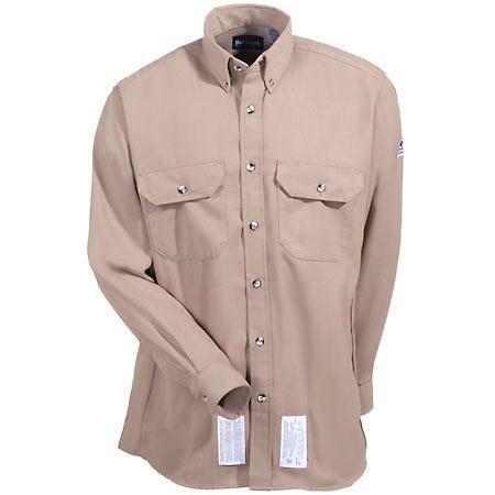 Bulwark Shirts: Men's Flame Resistant SMU2 KH Khaki Work Shirt Sale $67.00 Item#SMU2-KH :