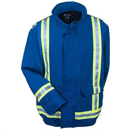 Bulwark Jackets: Men's Flame Resistant Lined Blue Bomber Jacket JNJTRB RYL Sale $227.00 Item#JNJTRB-RYL :