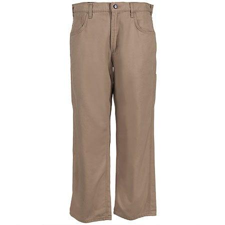 Carhartt Jeans: Men's Khaki Flame-Resistant Canvas Jeans FRB159 GKH Sale $78.00 Item#FRB159GKH :