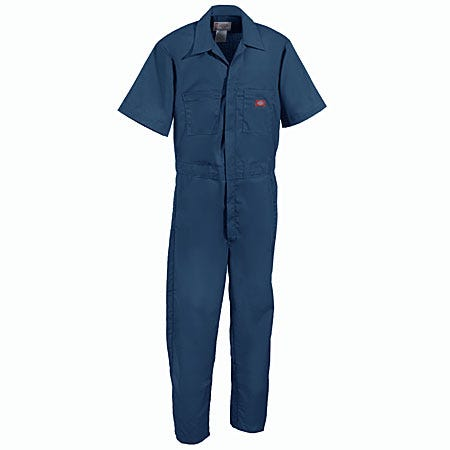 Dickies Work Clothes: 33999 DN Dark Navy Short Sleeve Poly/Cotton Coveralls Sale $28.00 Item#33999DN :