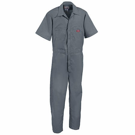 Dickies Coveralls: Unisex Grey Short Sleeve Stain Release Coveralls 33999 GY Sale $28.00 Item#33999GY :