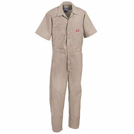 Dickies Coveralls: Men's Khaki Stain-Resistant Short Sleeve Cotton Blend Coveralls 33999 KH Sale $28.00 Item#33999KH :