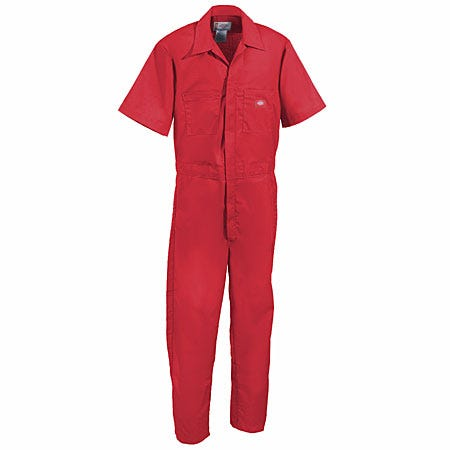 Dickies Work Clothes: Men's Red Short Sleeve Poly/Cotton Coveralls 33999 RD Sale $28.00 Item#33999RED :