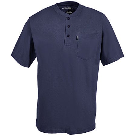 Key Clothing Men's Navy Henley Short Sleeve Cotton Shirt 825 40