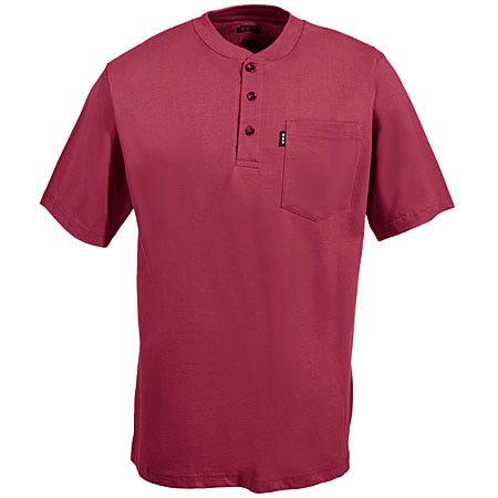 Key Clothing Men's Red Cotton Short Sleeve Henley Shirt 825 63