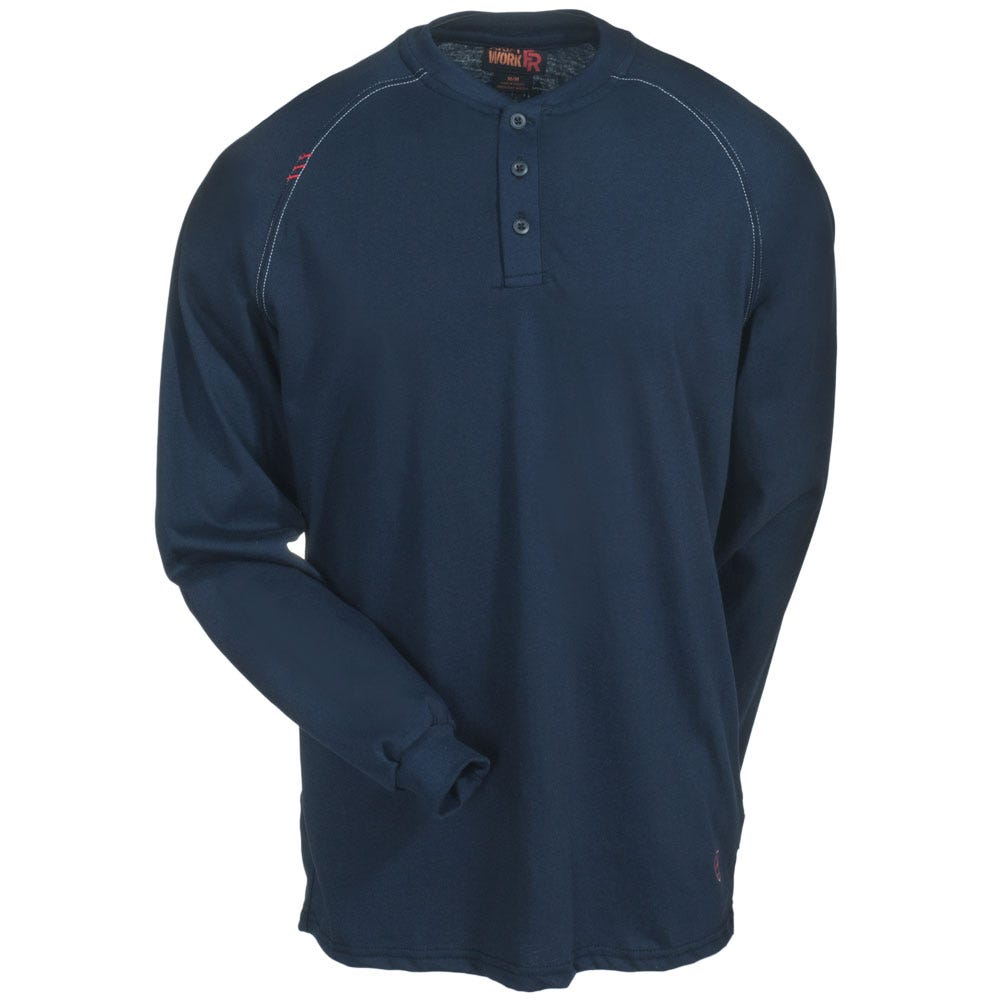 9d4d9c8c Ariat Shirts: Men's 10013518 Navy Flame-Resistant Long-Sleeve Henley ...