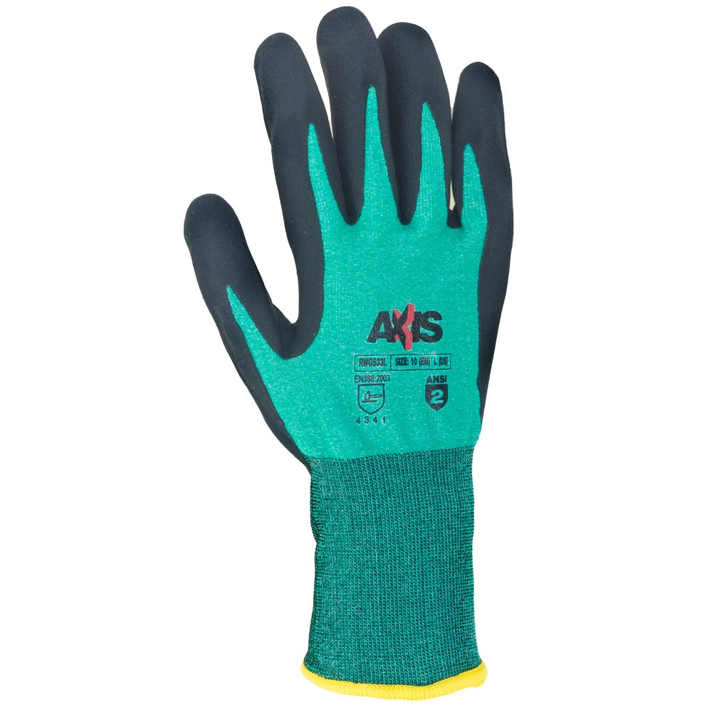 5cacfa2c911 Radians Gloves  Men s RWG533 Axis Cut-Resistant Green Foam Nitrile ...