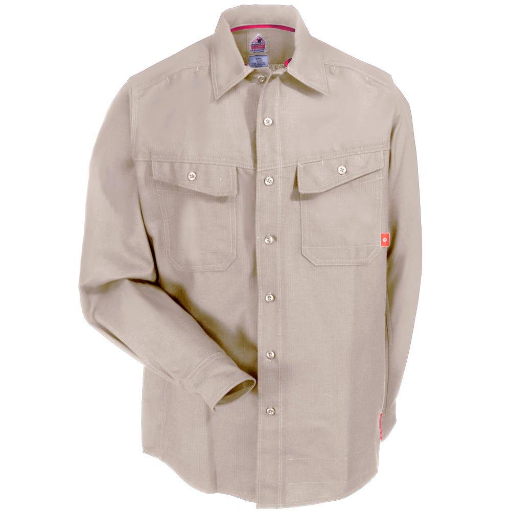 Bulwark FR Men/'s Long Sleeve Flame Resistant Work Shirt Khaki
