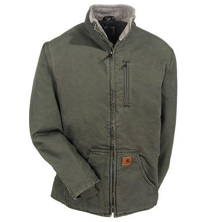 Carhartt Jackets: Men's Army Green 100112 301 Sherpa Lined Muskegon Jacket Sale $100.00 Item#100112-301 :
