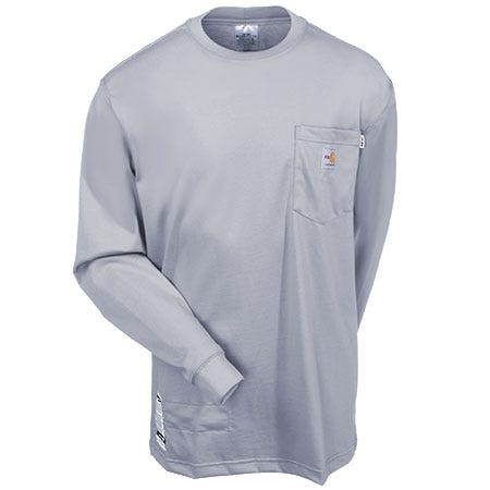 Carhartt Shirts: Men's Force 100235 051 Grey Flame Resistant Anti Odor Work Shirt Sale $68.00 Item#100235-051 :