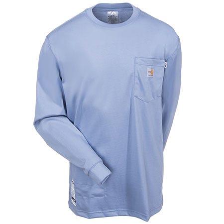Carhartt Shirts: Men's Force Light Blue Flame Resistant 100235 465 Work Shirt Sale $68.00 Item#100235-465 :