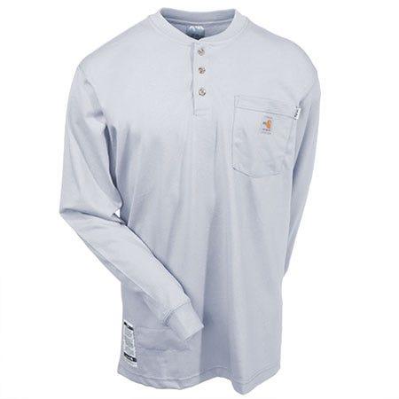 Carhartt Shirts: Men's Grey Force 100237 051 FR Cotton Henley Work Shirt Sale $61.00 Item#100237-051 :
