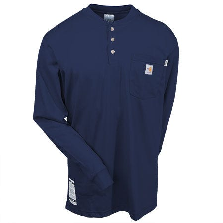 Carhartt Shirts: Men's Force Navy Blue 100237 410 Flame Resistant Henley Work Shirt Sale $61.00 Item#100237-410 :