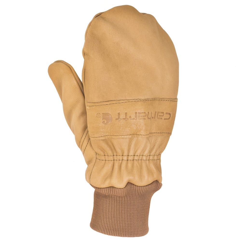 e0f67e94751 Carhartt Gloves  A673 BROWN Leather Insulated Knit Cuff Mittens ...