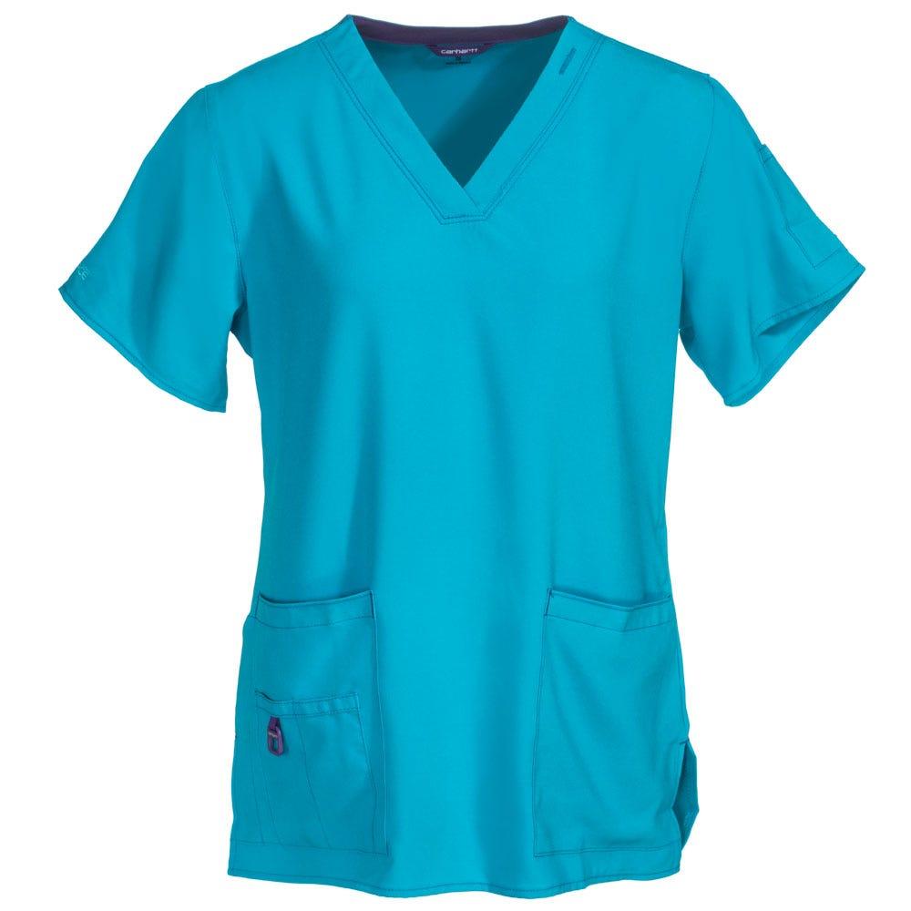 Carhartt Women's 12110 CYN Blue V-Neck Scrub Top Shirt