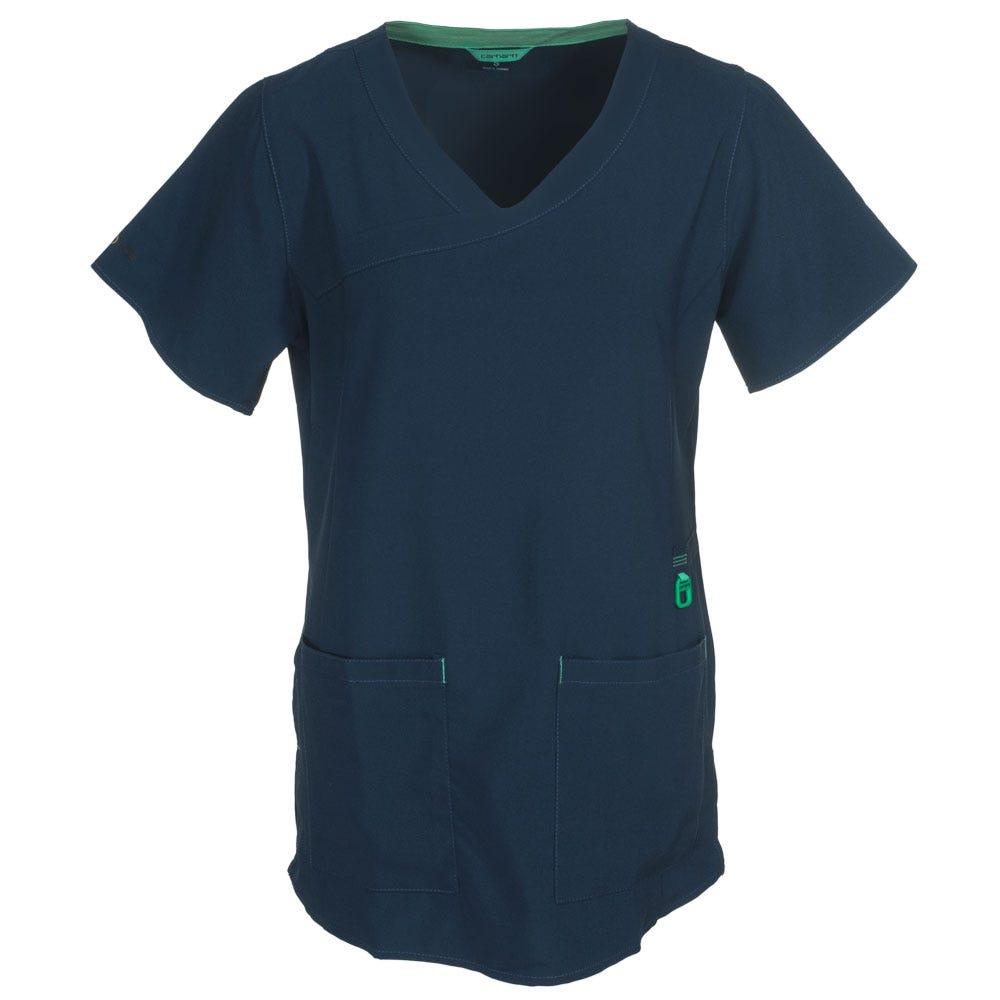 Carhartt Women's C12210 NVY Navy Blue Y-Neck Fashion Scrub Top