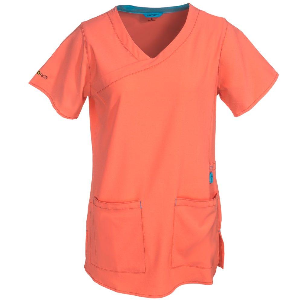 Carhartt Women's C12210 CRL Pink Scrub Y-Neck Fashion Top Shirt