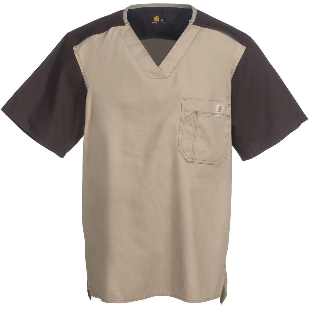 Carhartt Men's C14108 KHI Khaki/Brown Utility Ripstop Scrub Top