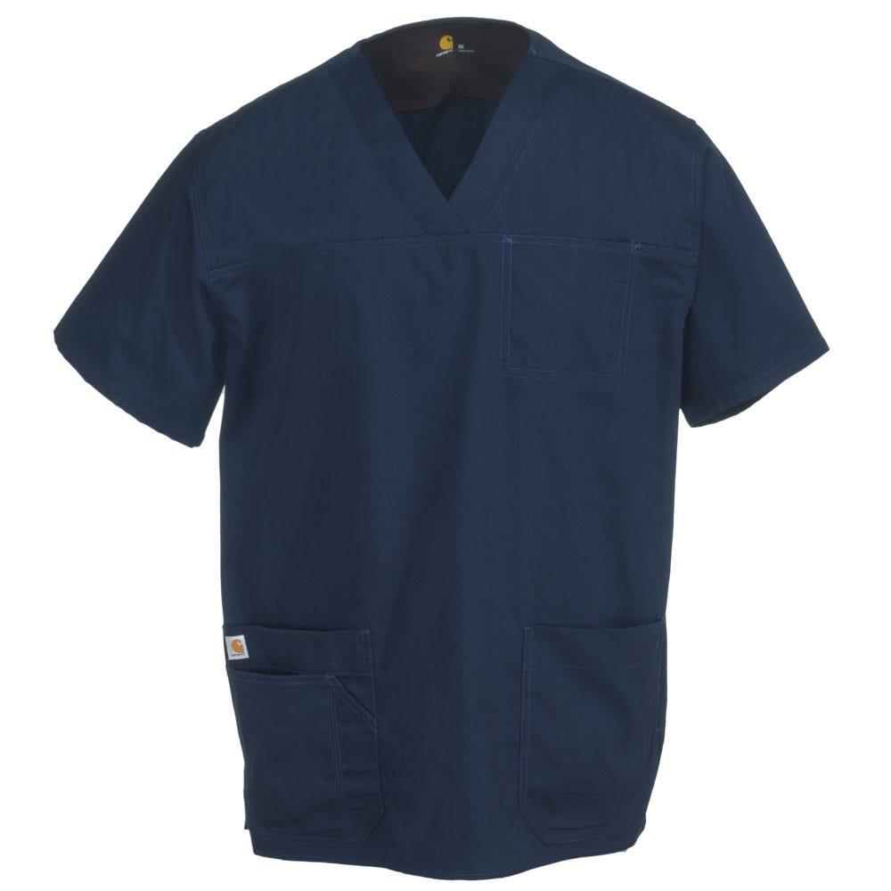 Carhartt Men's C15208 NVY Navy Blue Multi-Pocket Scrub Top