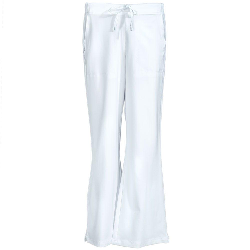 Carhartt Women's C52210 WHT White Flare Scrub Flat-Front Work Pants
