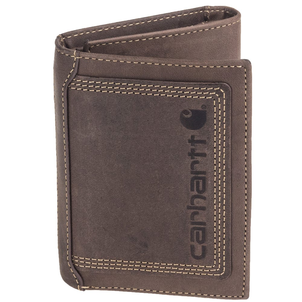 4c220f2c830 Carhartt Wallets  Men s CH 62244 200 Brown Detroit Leather Trifold ...