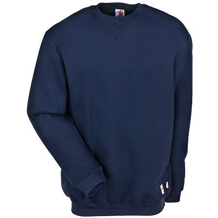 Carhartt Sweatshirts: Men's Navy Pullover Flame Resistant Sweatwhirt FRK127 NVY Sale $126.00 Item#FRK127 :