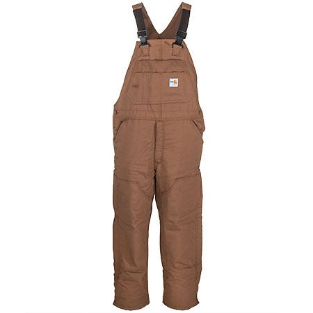 Carhartt Overalls: Men's FRR43 BRN Brown FR Quilt Lined Bib Overalls Sale $195.00 Item#FRR43-BRN :