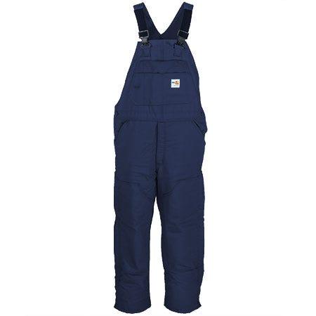 Carhartt Overalls: Men's Flame Resistant FRR43 DNY Quilt Lined Navy Bib Overalls Sale $195.00 Item#FRR43DNY :