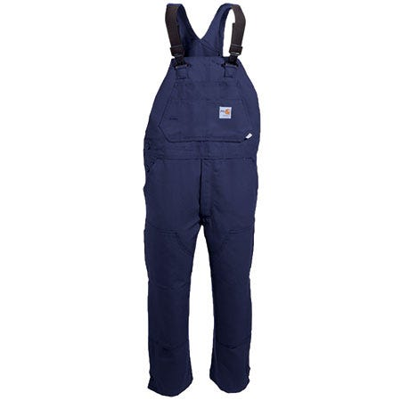 Carhartt Overalls: Men's Navy FRR45 DNY Flame Resistant Cotton Duck Bib Overalls Sale $133.00 Item#FRR45DNY :