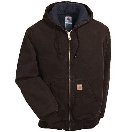 Carhartt Jackets: Men's Brown J130 DKB Flannel Lined Duck Active Hooded Jacket Sale $90.00 Item#J130DKB :