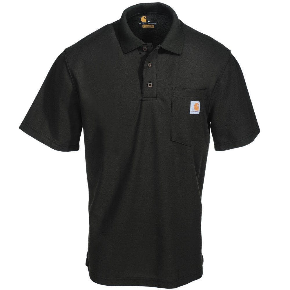 Carhartt shirts men 39 s k570 blk black contractor 39 s work for Mens work polo shirts
