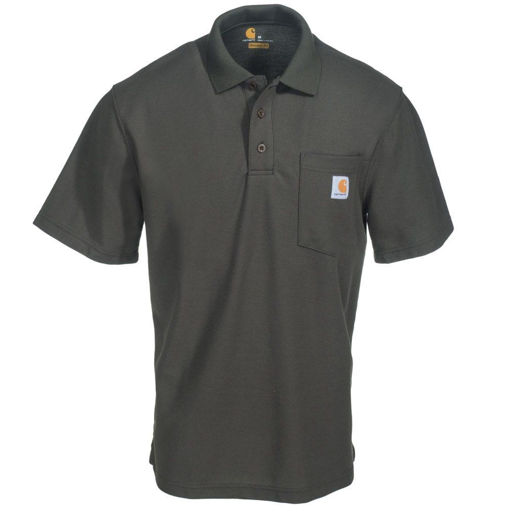 Carhartt shirts men 39 s k570 mos green original fit polo for Mens work polo shirts