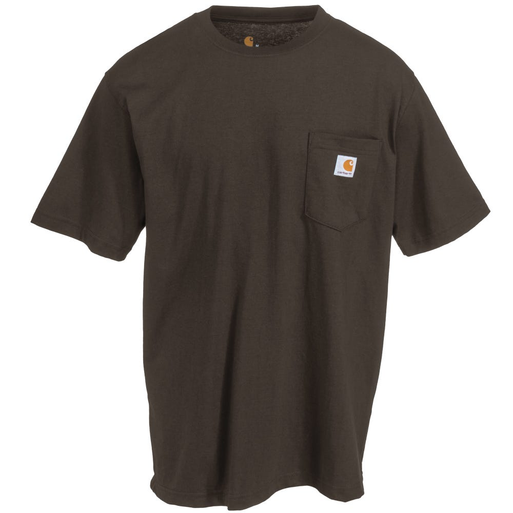 Carhartt shirts men 39 s k87 dkb dark brown short sleeve for Black brown mens shirts