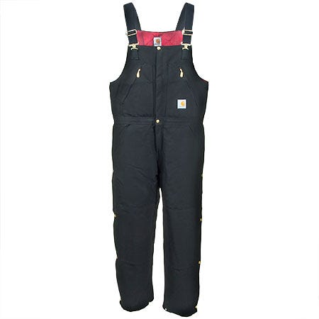 Carhartt Overalls: Men's Black R38 BLK Cotton Duck Quilt Lined Bib Overalls Sale $100.00 Item#R38BLK :