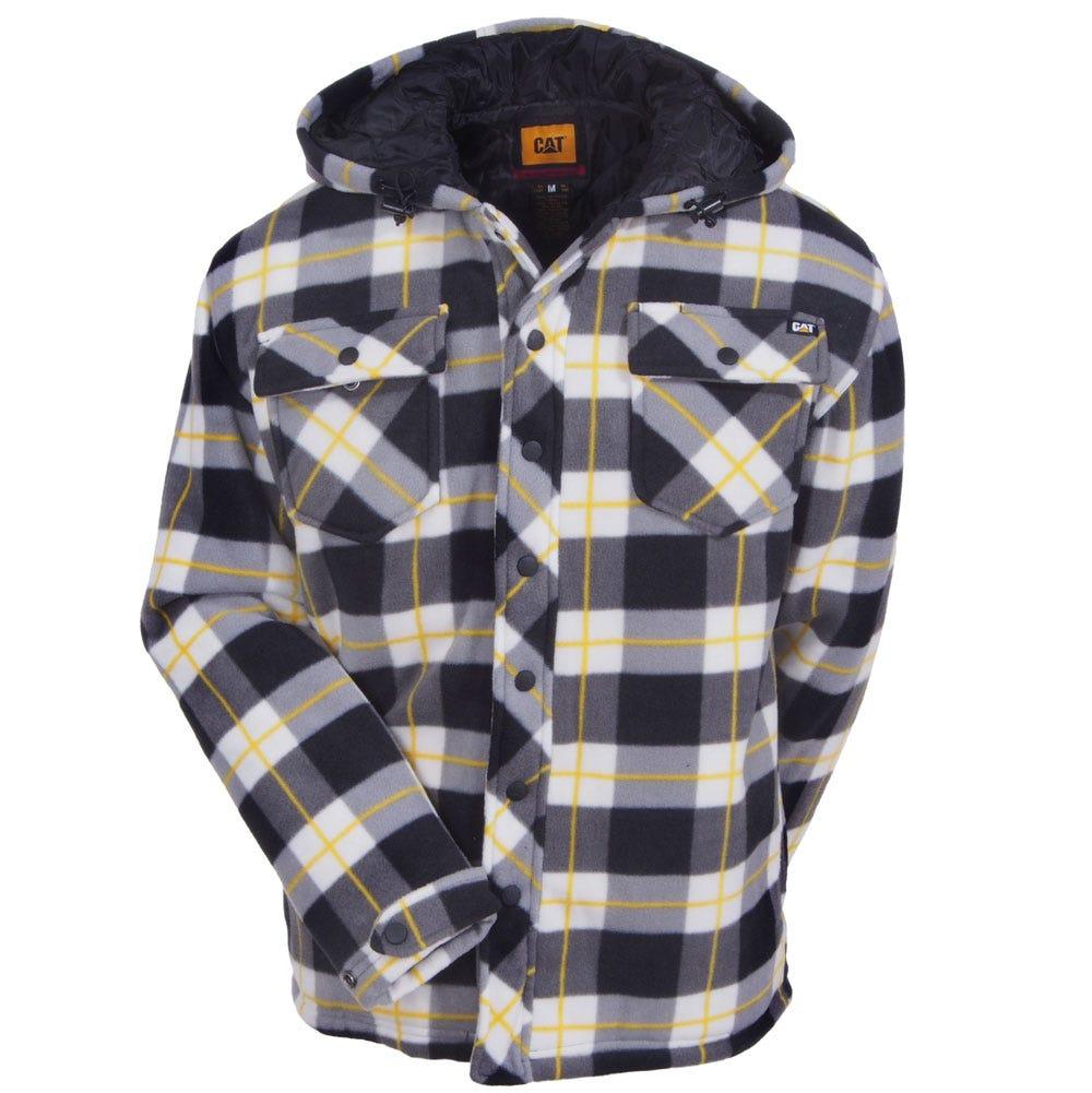 Cat apparel men 39 s black watch plaid 1313058 46b active for Plaid shirt jacket mens