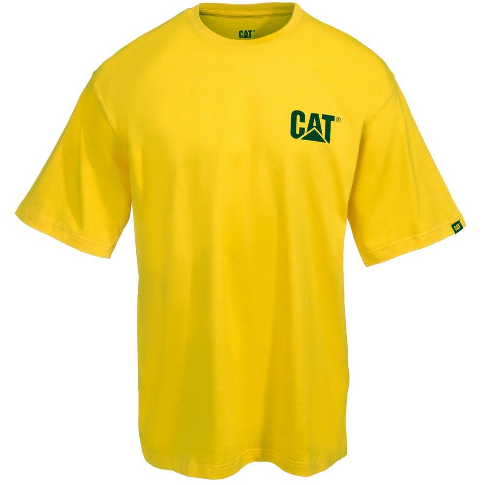 CAT Apparel Shirts: Men's W05324 555 Yellow Trademark Tee Shirt