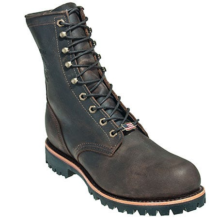 Chippewa Boots: Men's Brown 20086 Steel Toe EH USA-Made Logger Boots