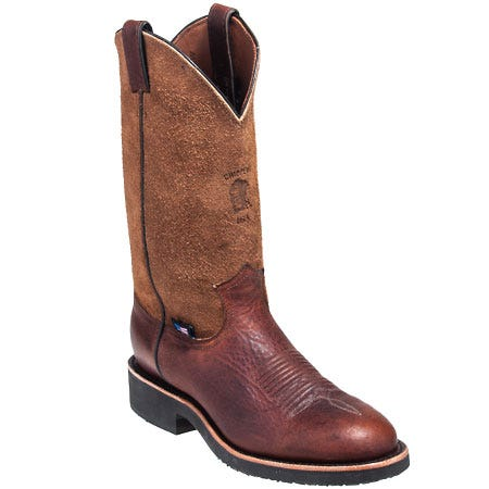 Chippewa Boots: Men's 29327 USA-Made Brown Round Toe Pull-On Boots