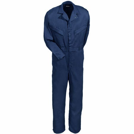 Bulwark Coveralls: Cotton Blend Navy Blue Flame-Resistant Coveralls CLD4 NV Sale $82.00 Item#CLD4NV :
