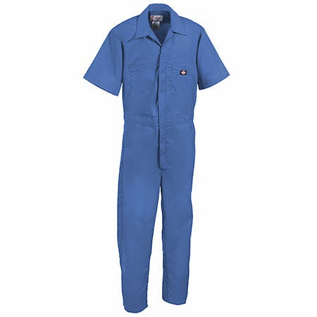 Dickies Men Size Small R Short Sleeve Poplin Medium Blue Coverall 33999 MB