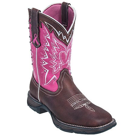 Durango Women's Brown RD3557 Pink Awareness Western Work Boots