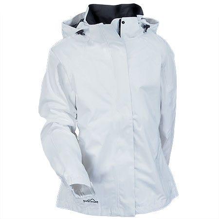 Eddie Bauer Women's White EB551 WHT Waterproof Hooded Rain Jacket