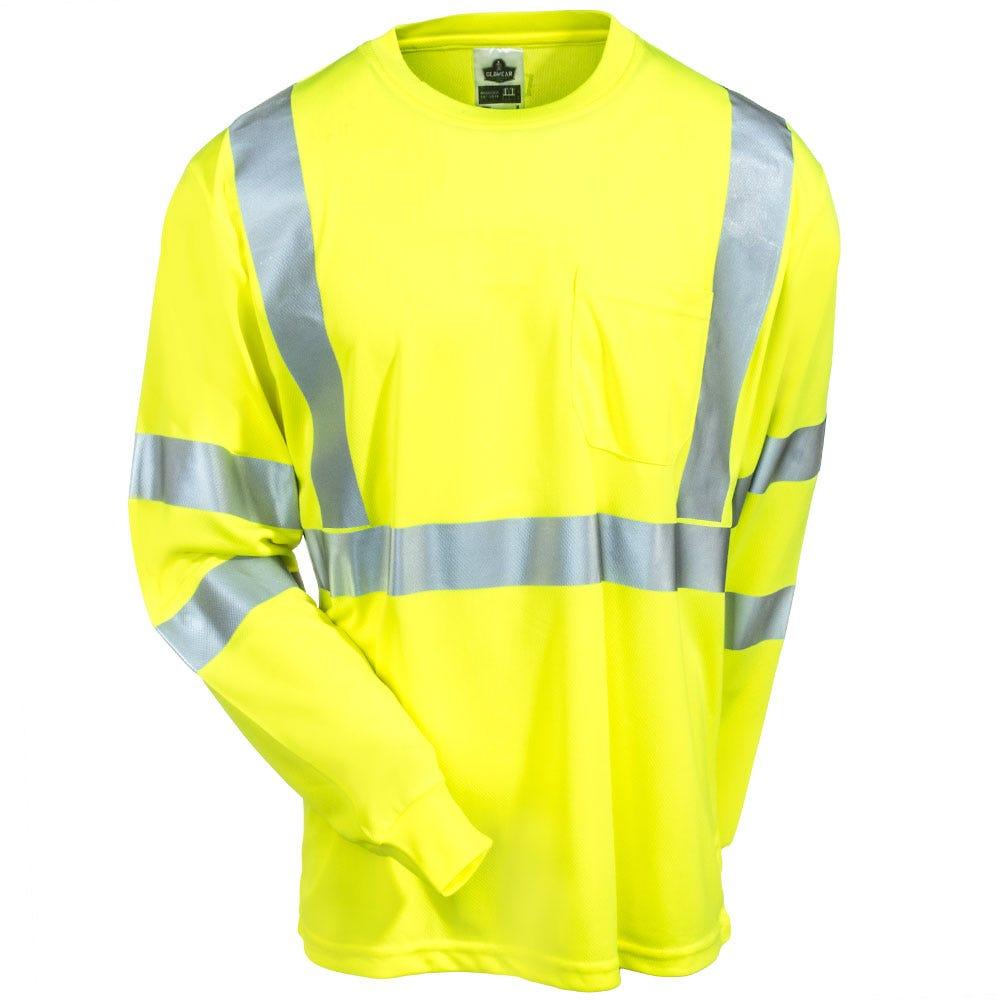 Ergodyne shirts men 39 s 8391 lm high visibility lime class for Wholesale high visibility shirts