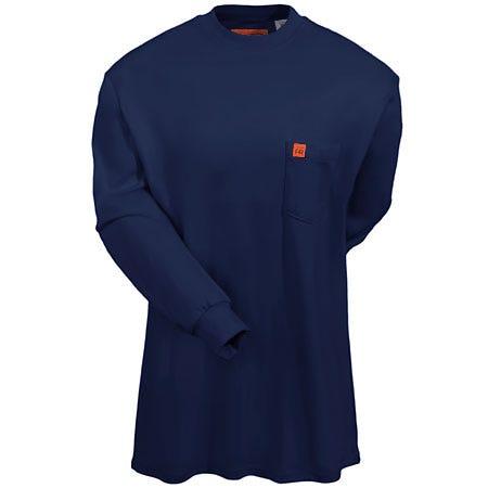 Wrangler Shirts: Men's Navy Blue Fire-Resistant Cotton Jersey Henley Shirt FR3W8 NV Sale $60.00 Item#FR3W8NV :