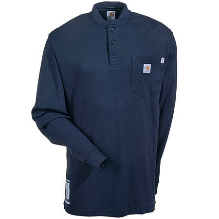 Carhartt Shirts: Men's FR Navy FRK293 DNY Flame Resistant Long Sleeve Henley Shirt Sale $69.00 Item#FRK293DNY :