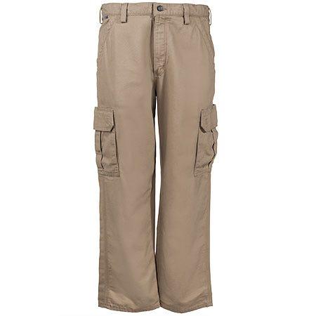 Carhartt Pants: Men's Khaki Flame Resistant Canvas Cargo Pants FRB240 GKH Sale $86.00 Item#FRB240GKH :