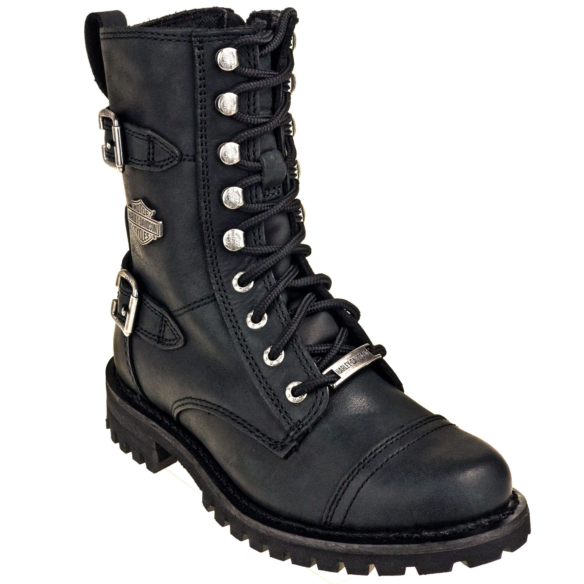 Harley Davidson 83853 Side Zip Women's Black Balsa Motorcycle Boots