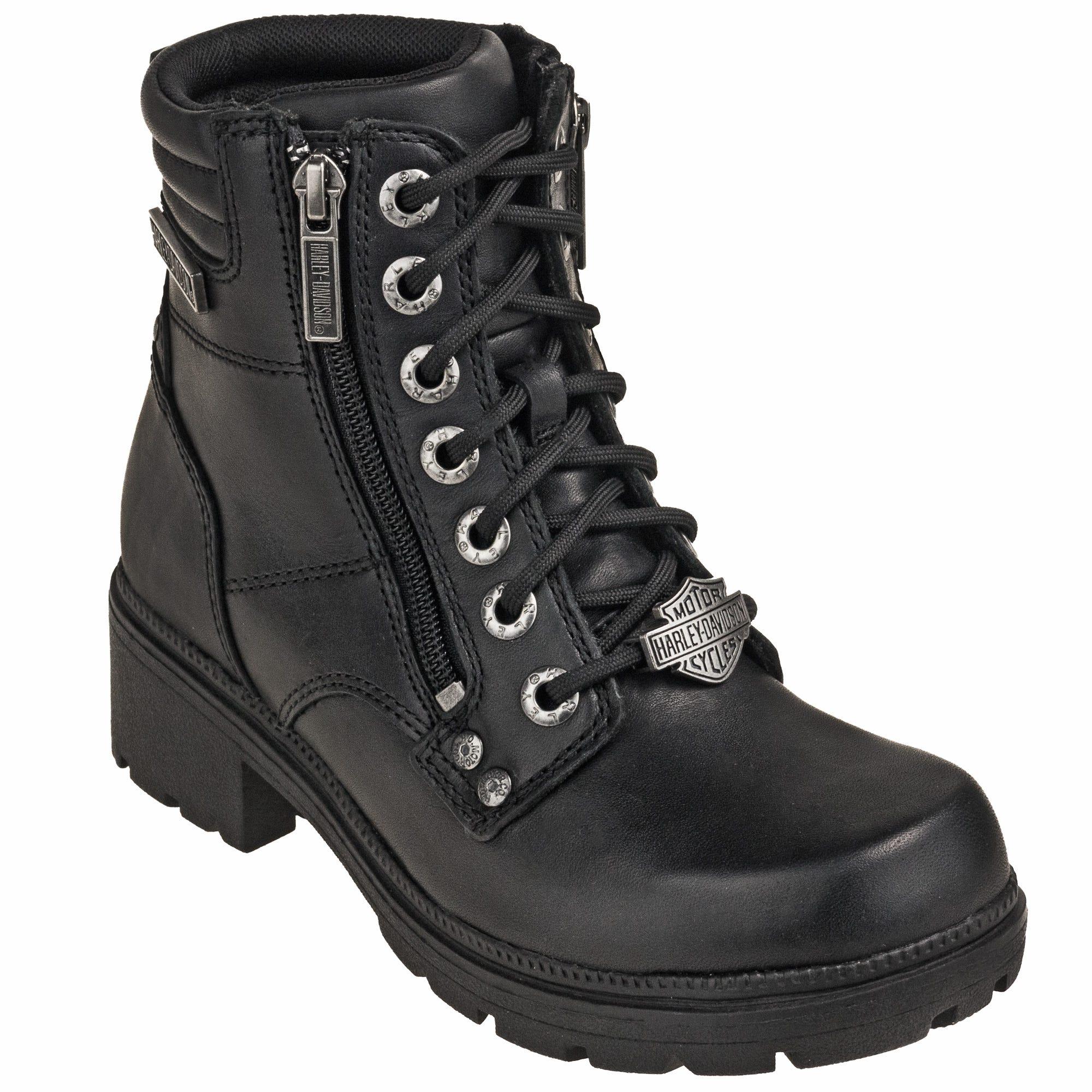 Harley Davidson Women's D83877 Zip Up Black Motorcycle Boots