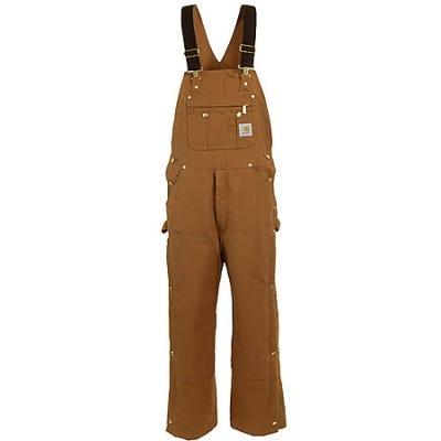 Carhartt Overalls: Men's Brown Cotton Lined Bib Overalls R41 BRN Sale $95.00 Item#R41BRN :